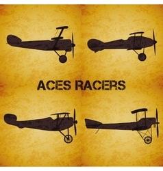 Set of retro airplane ww1 vector