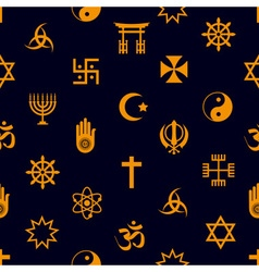 world religions symbols icons seamless pattern vector image