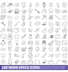 100 work space icons set outline style vector image