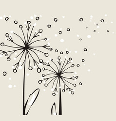 Abstract fluffy flowers with fly petals vector