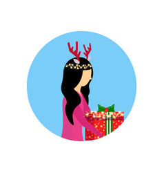 Asian woman deer horns hold gift box happy new vector
