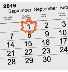 Autumn 2016 September 1 calendar Maple Leaf back vector image
