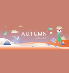 Autumn sale banner women for fashion shop vector