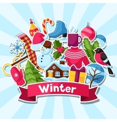 Background with winter stickers Merry Christmas vector image
