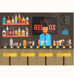 Bar counter with barman stools and alcohol drink vector