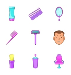 Barbershop icons set cartoon style vector image