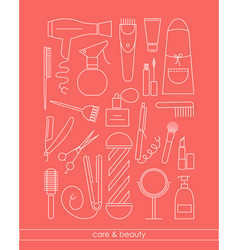 beautycare line icons set for barber shop or vector image