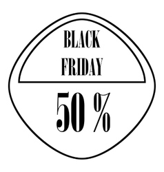 Black Friday sticker 50 percent off icon vector