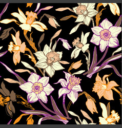 briht colorful floral seamless pattern with hand vector image