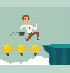 Business man jumping over cliff gap concept of vector