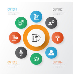 business management icons set with self vector image