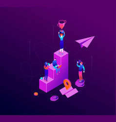business success - modern colorful isometric vector image