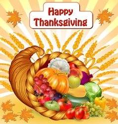 Card for Thanksgiving with a cornucopia of fruits vector