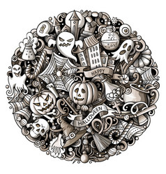 Cartoon doodles happy halloween vector