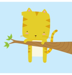 Cat Stuck on a Branch vector