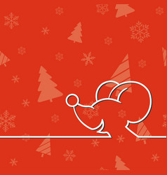christmas card with cartoon mouse vector image