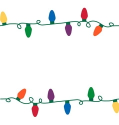Christmas lights seamless string vector image