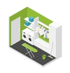 Cleaning room isometric icon vector image