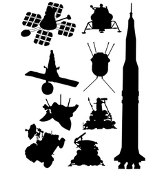 Collection of silhouettes of spacecrafts vector image