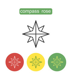 Compass rose outline icons set vector