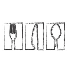 contour symbol cutlery food icon vector image
