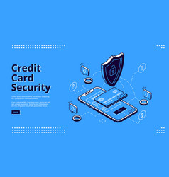 credit card security isometric landing web banner vector image