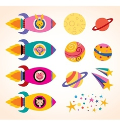 cute animals in spaceships kids design elements vector image
