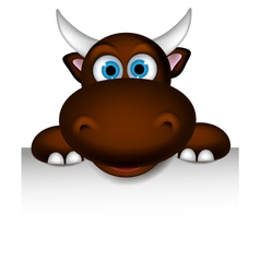 cute buffalo cartoon posing with blank sign vector image