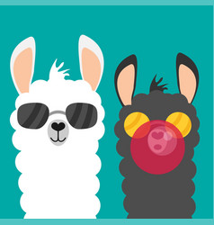 Cute cartoon alpaca flat vector