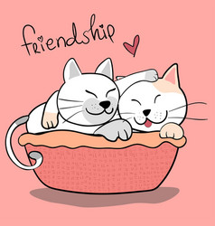 cute couple friendship cat hug each other on pink vector image