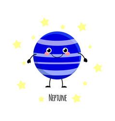 cute neptune planet kawaii characters vect vector image