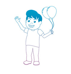 degraded line funny boy with nice balloons design vector image