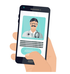 digital health concepts user using a phone to vector image