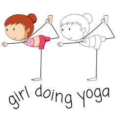 dooldle girl doing yoga vector image