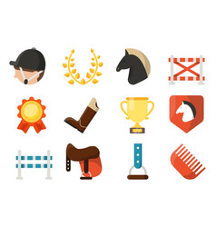 equestrian sport icon set isolate on white vector image