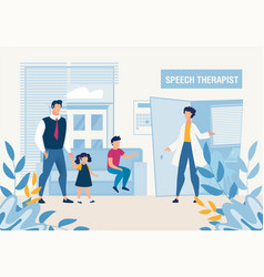 Father with kids at speech therapist consultation vector