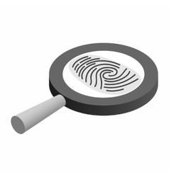 Fingerprint under a magnifying glass vector image