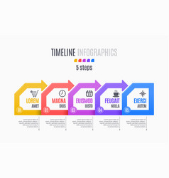 five steps infographic timeline presentation vector image