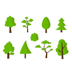 flat green tree icons set vector image