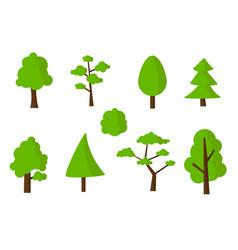 Flat green tree icons set vector