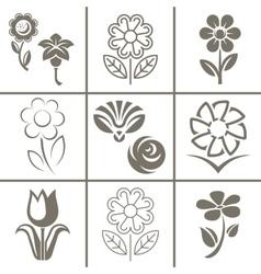 Flower set icon vector image