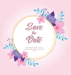 flowers wedding save date label floral vector image