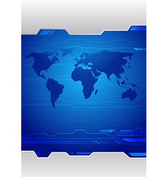 Folder template with earth map on it vector image