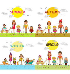 Four seasons spring summer autumn winter kids vector