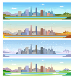 four seasons urban landscape weather summer vector image