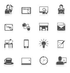 Freelance Icon Black Set vector