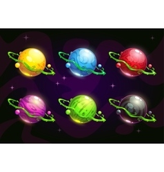 Funny colorful fantasy planets set vector