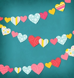Garland of colored hearts vector image
