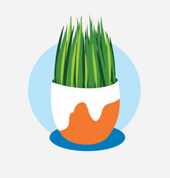 green grass in a white-brown pot on a blue stand vector image
