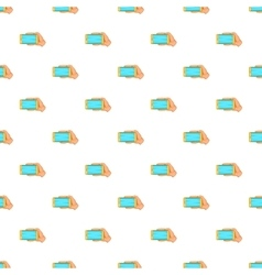 Hand with mobile phone pattern cartoon style vector